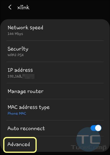 Advanced Wi-Fi settings One UI 2