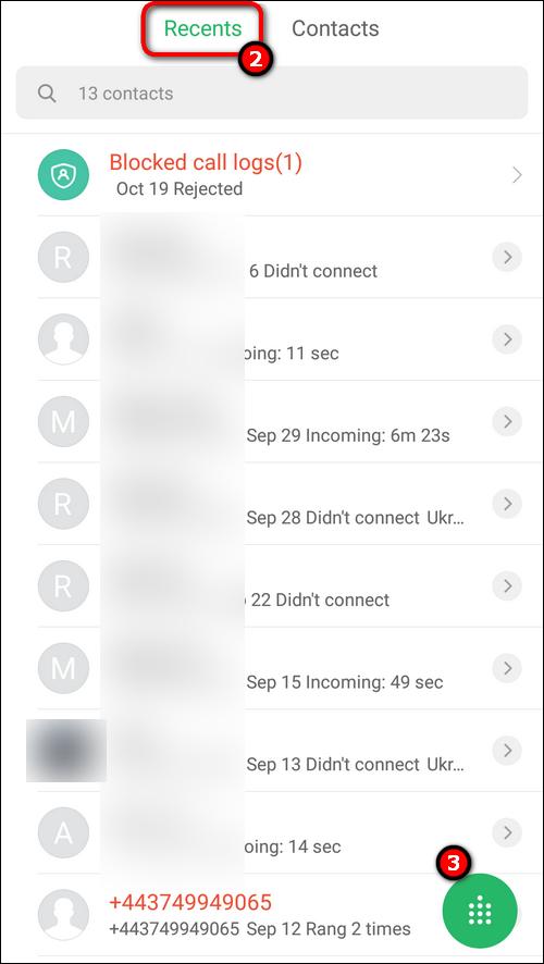 Recent calls Xiaomi MIUI 10