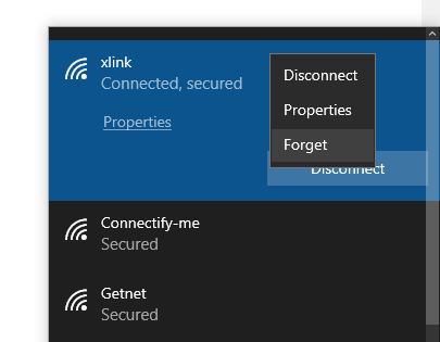 best way to forget wi-fi network on Windows 10