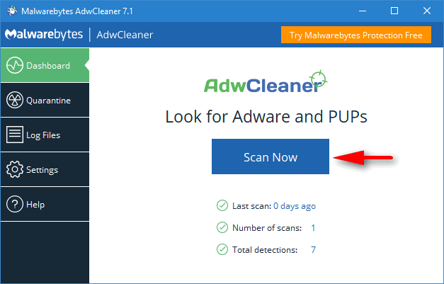 AdwCleaner Scan now
