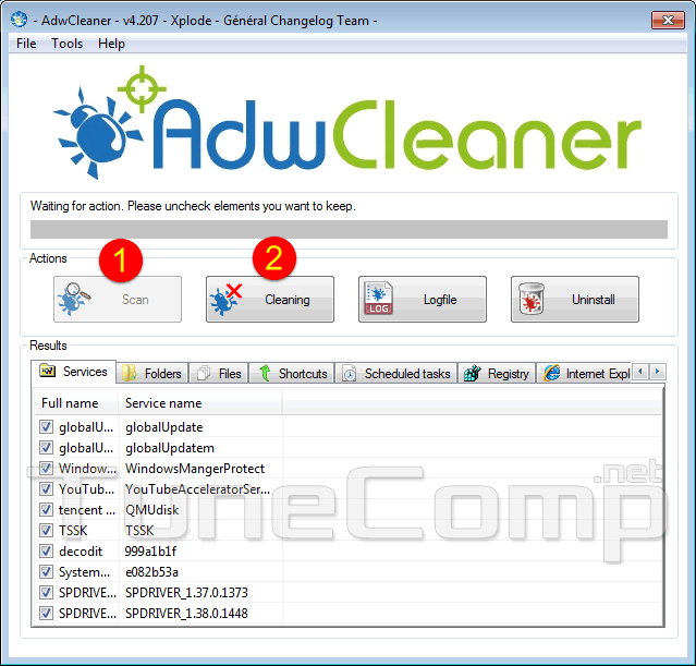 remove tencent components using adwcleaner