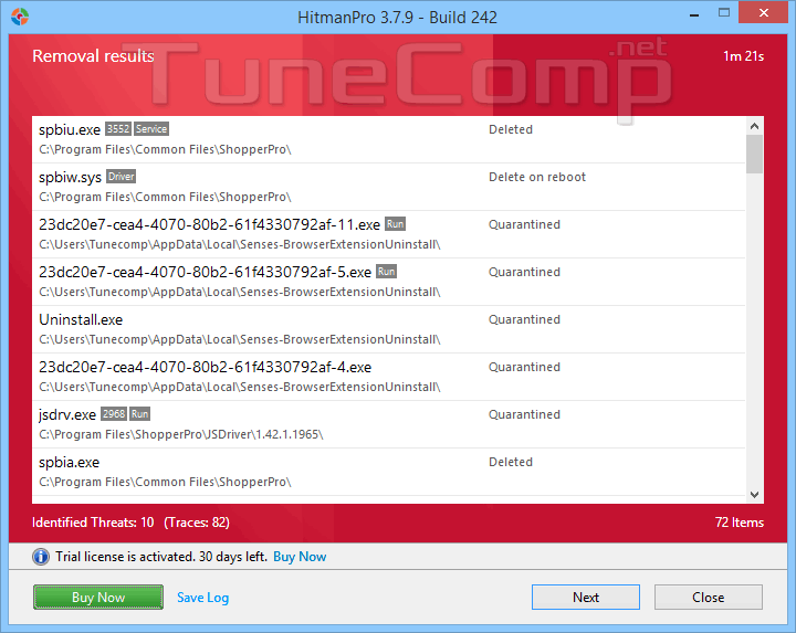 delete time-to-read.ru traces using hitmanpro