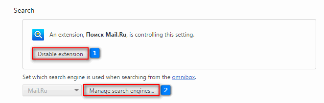 Remove Mail.ru search