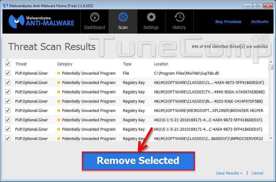 remove content protector installer using MBAM