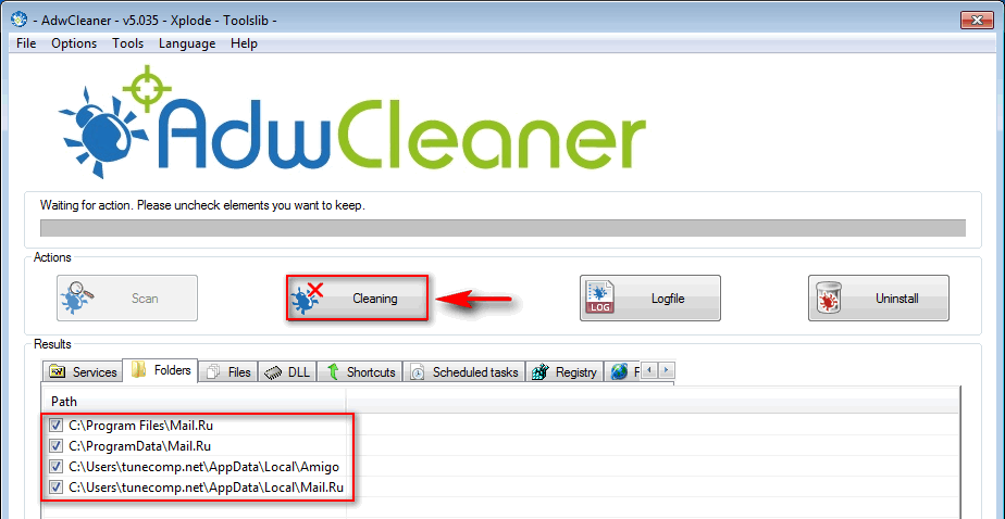 remove mail.ru using adwcleaner tool