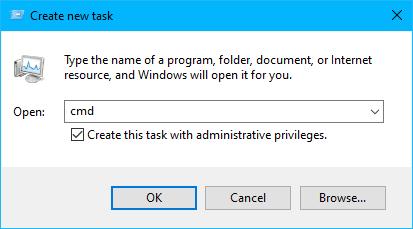 run cmd from Windows 10 Task Manager