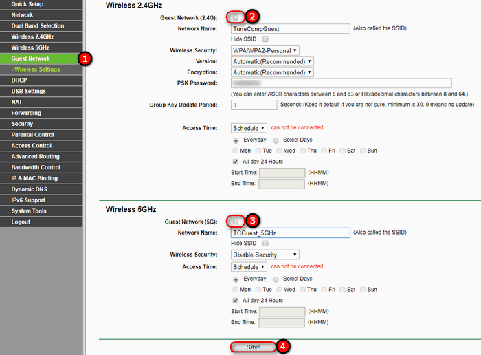 disable guest networks on router