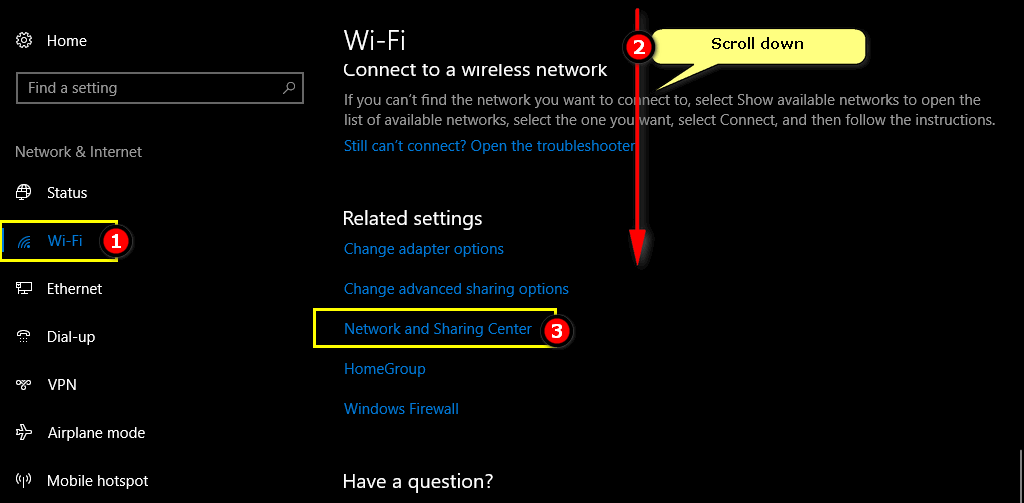 Network and Sharing Center Windows 10 FCU