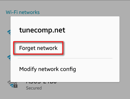 How to forget wifi-network on android
