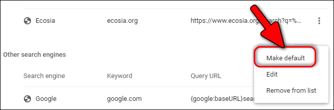 Make Google default search in Chrome 86