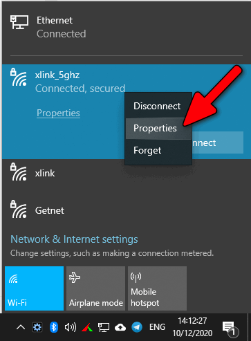 Wi-Fi connection properties Windows 10 2004
