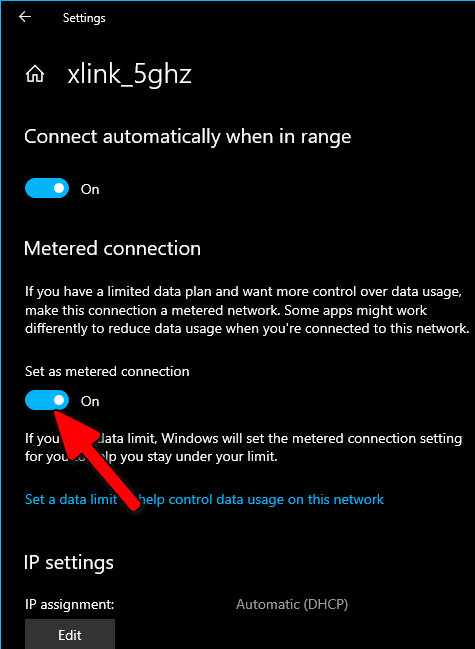 Wi-Fi set as metered connection Windows 10
