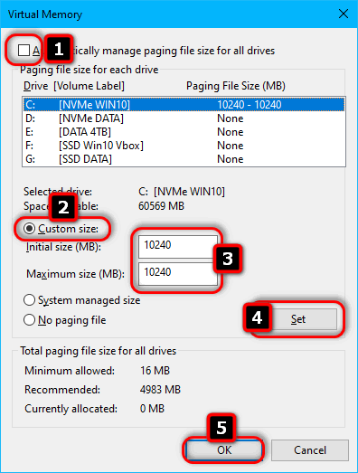 paging file of a fixed size in Windows 10