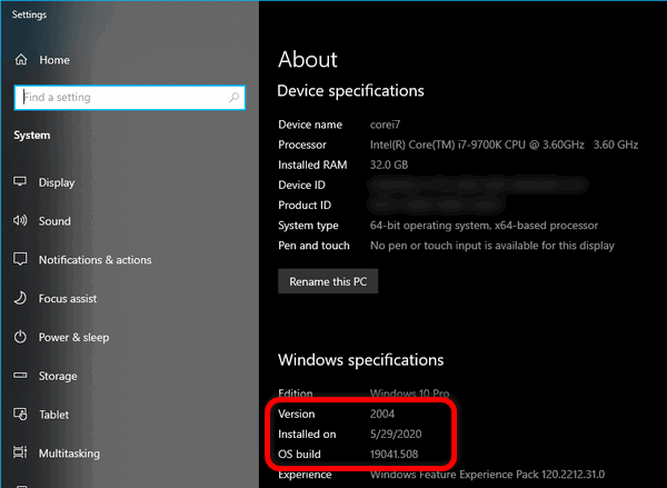 view OS version and build Windows 10 Settings app