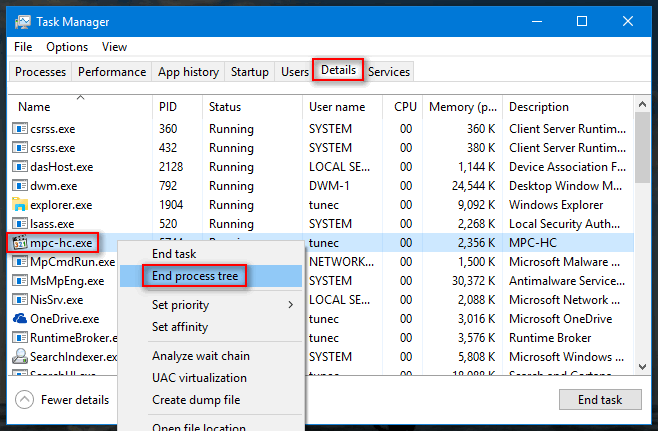 kill process tree in windows 10