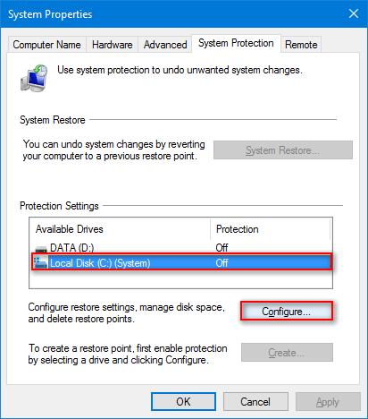 System Restore (Windows 10)