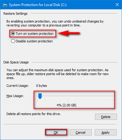 Turn on the system restore in Windows 10