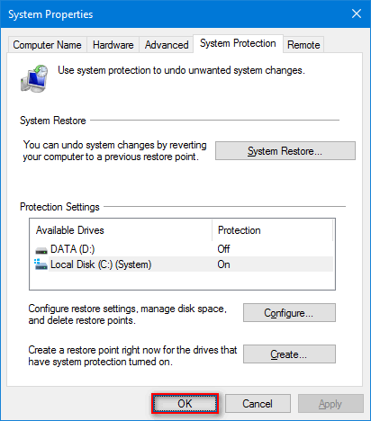 System Restore enabled in Windows 10