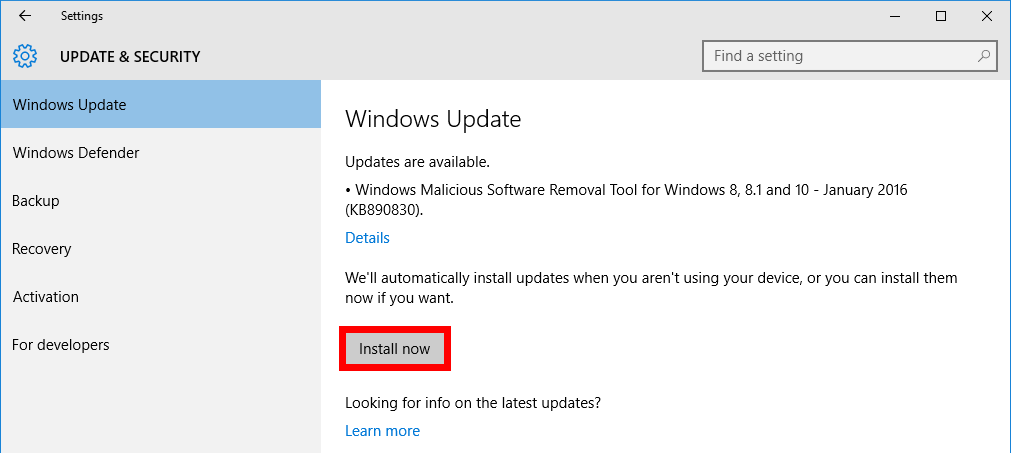Install updates in Windows 10