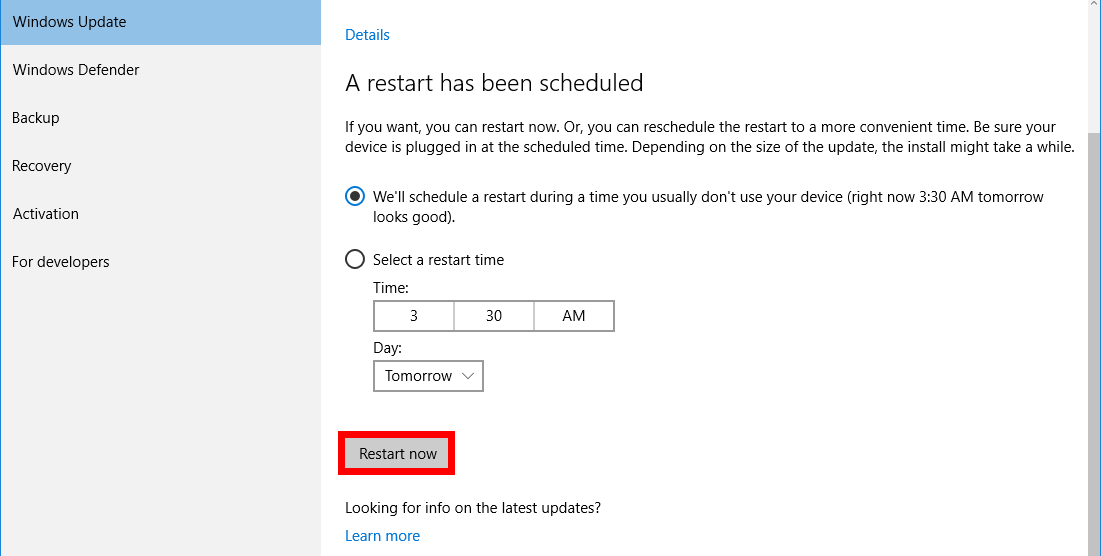 Restart in order to install updates for Windows 10