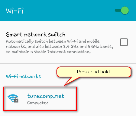 Network settings on Android