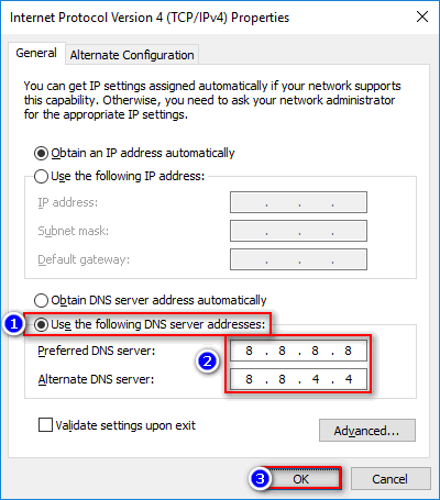 use Google DNS 8.8.8.8 on Windows 10 PC