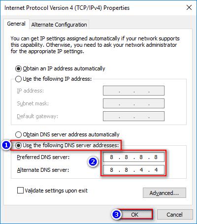use 8.8.8.8 dns on pc windows10 setup
