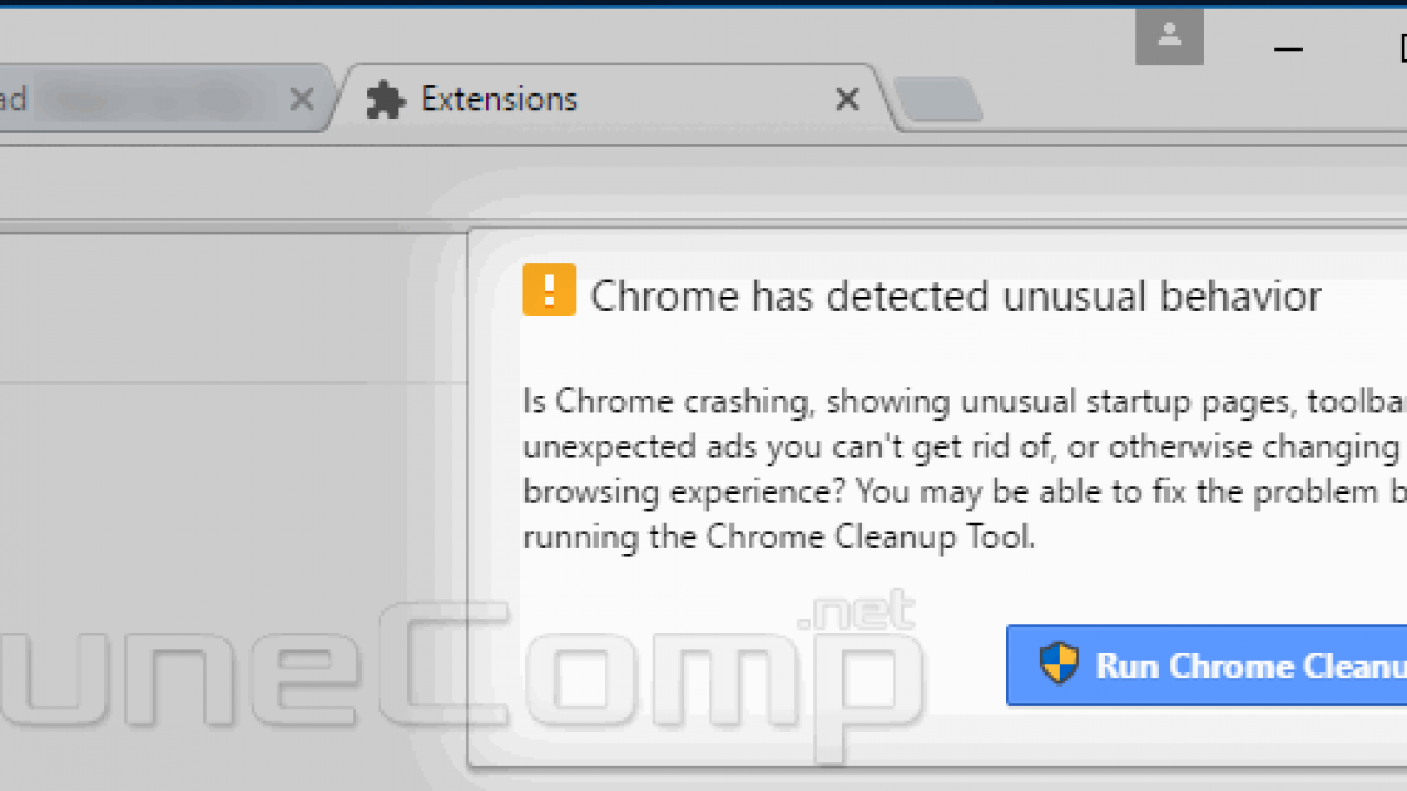 Chrome has detected unusual behavior