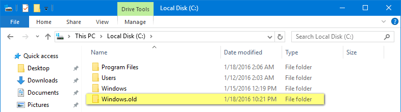 how to remove windows.old in Windows 10