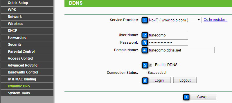 Dynamic DNS settings on router TP-Link