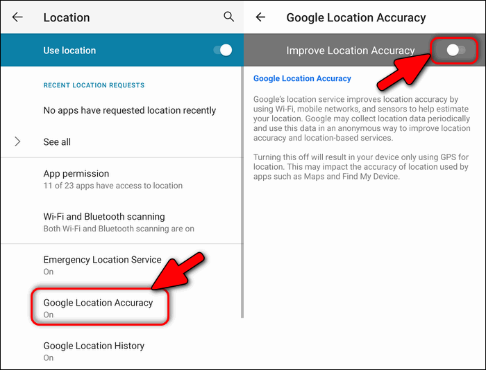 Disable Google Location Accuracy
