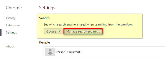 restore default search in browser