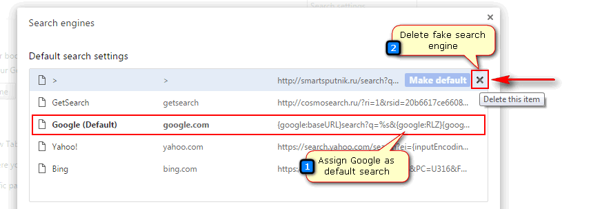 remove rusearcher.com from search in Chrome