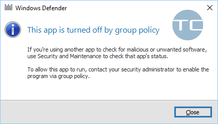 this app is turned off by group policy