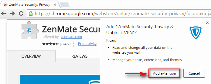 ZenMate: add extension to Chrome