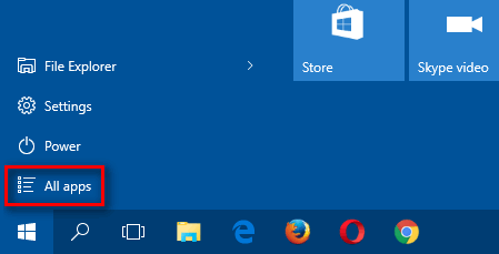all apps in windows 10 start
