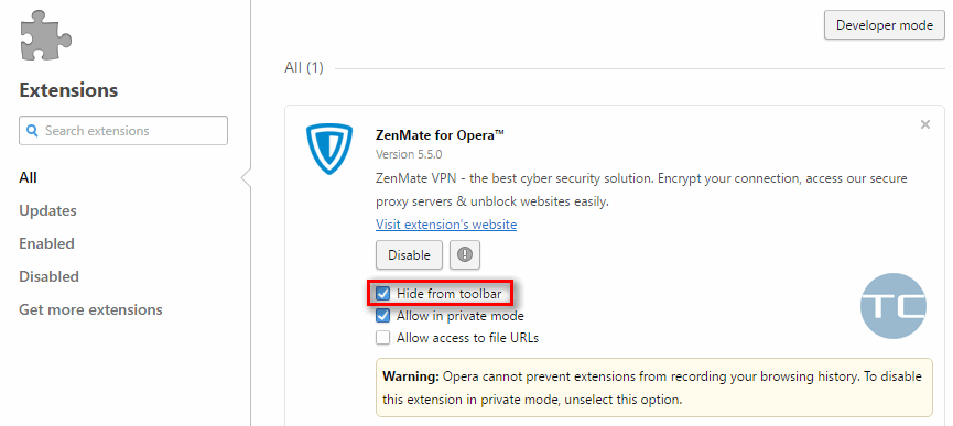 hide extension icon in opera