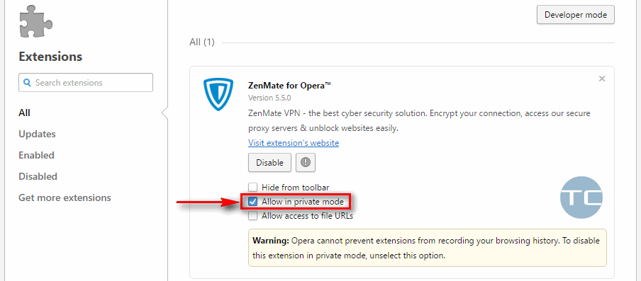 opera allow in private mode