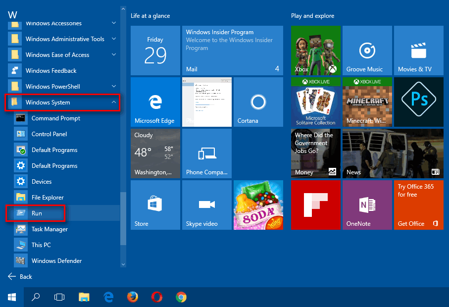 start menu-all apps-w-windows system-run