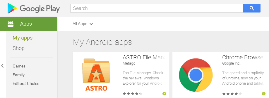 remove app from my apps list in google play store