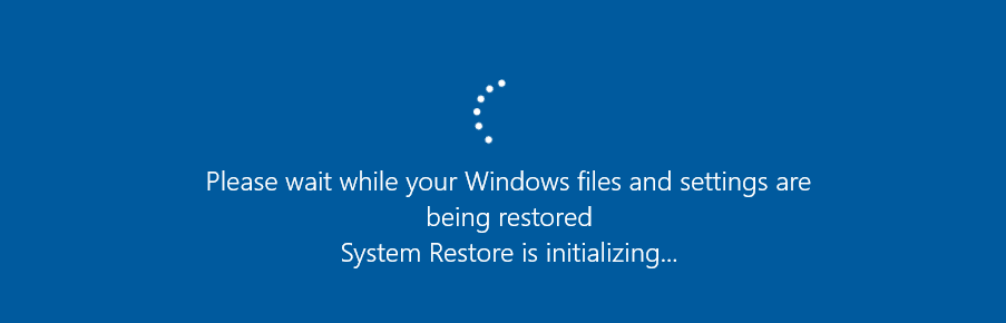 please wait system restore is initializing