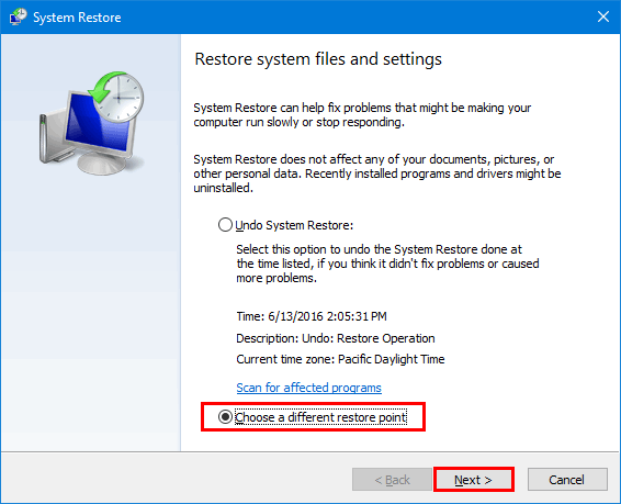 restore system files and settings in Windows 10