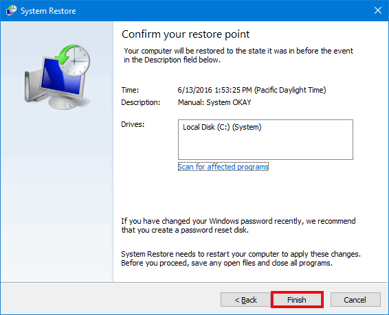 restore your system using selected restore point