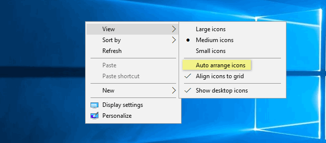 auto-arrange icons on the desktop