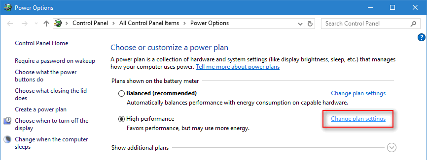 change plan settings