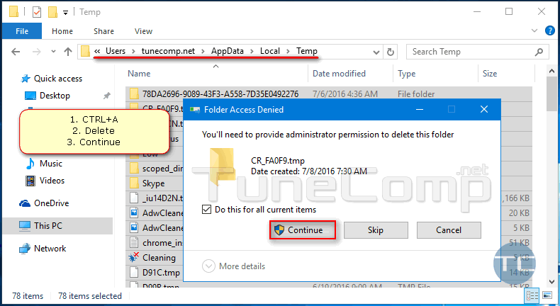 clean folder appdata local temp