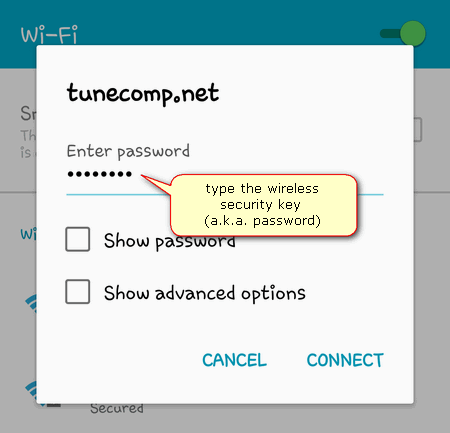 reconnect to wi-fi enter password