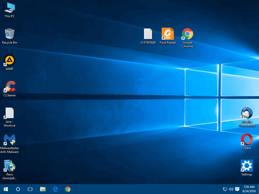 desktop icons arrangement