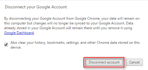 disconnect account confirmation