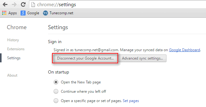 disconnect your google account